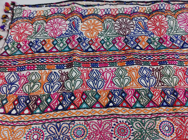 LARGE DOWRY BAG TO HOLD BRIDAL CLOTHING, DEBARIYA RABARI EMBROIDERY, KUTCH, GUJARAT