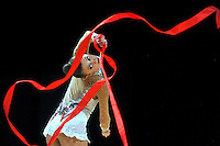 Yana Lukonina of Russia performs with ribbon during Event Finals at World Cup Montreal on January 30, 2011.  (Photo by Tom Theobald).