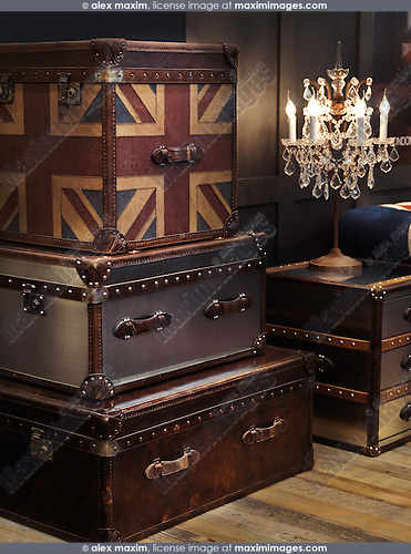 Home decor leather and metal chests. Interior design.