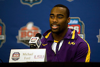 LSU running back Michael Ford smiles while talking with the reporters during BCS Championship LSU Offensive Press Conference at Marriott Hotel at the Convention Center in New Orleans, Louisiana on January 7th, 2012.