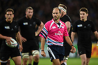 Referee Romain Poite looks on during a break in play. Rugby World Cup Pool C match between New Zealand and Namibia on September 24, 2015 at The Stadium, Queen Elizabeth Olympic Park in London, England. Photo by: Patrick Khachfe / Onside Images