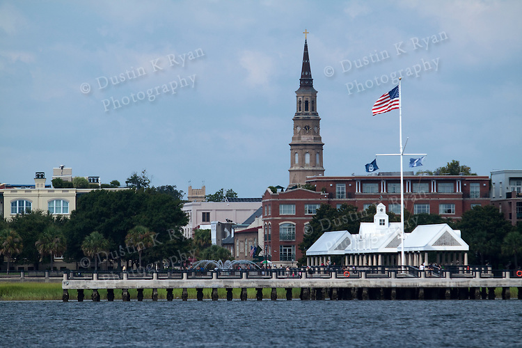Charleston waterfront pier fountains and st Josephs church steeple