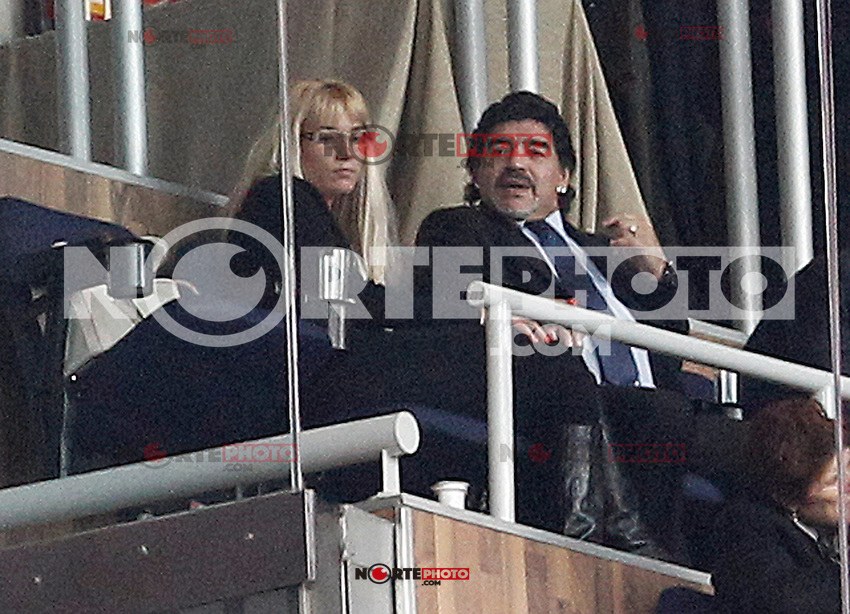 Football star Diego Armando Maradona with his new girlfriend Rocio Geraldine Oliva during La Liga match.March 02,2013. (ALTERPHOTOS/Acero) /NortePhoto