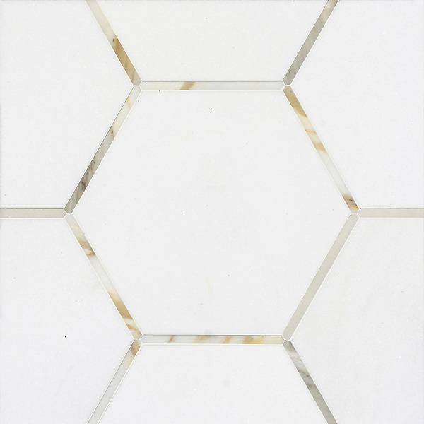 Bonaparte, a stone waterjet mosaic, shown in polished Calacatta and Thassos.