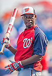 23 February 2013: Washington Nationals outfielder Eury Perez awaits his turn in the batting cage prior to a Spring Training Game against the New York Mets at Tradition Field in Port St. Lucie, Florida. The Mets defeated the Nationals 5-3 in their Grapefruit League Opening Day game. Mandatory Credit: Ed Wolfstein Photo *** RAW (NEF) Image File Available ***