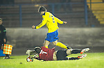 Cowdenbeath v St Johnstone ..17.12.12      Scottish Cup.Thomas Flynn brings down Murray Davidson for a peanlty.Picture by Graeme Hart..Copyright Perthshire Picture Agency.Tel: 01738 623350  Mobile: 07990 594431