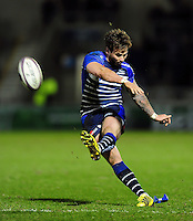 Danny Cipriani of Sale Sharks kicks for the posts. European Rugby Challenge Cup quarter final, between Sale Sharks and Montpellier on April 8, 2016 at the AJ Bell Stadium in Manchester, England. Photo by: Patrick Khachfe / JMP