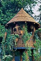 "Willow treehouse & adorable wicker ""birdwatcher' with binoculars for children's fun, climbing vines"