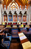 The choir of the medieval Wells Cathedral built in the Early English Gothic style in 1175, Wells Somerset, England