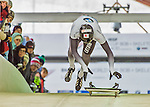 9 January 2016: Tomass Dukurs, competing for Latvia, pushes off for his first run start of the BMW IBSF World Cup Skeleton race at the Olympic Sports Track in Lake Placid, New York, USA. Tomass Dukurs ended the day with a combined 2-run time of 1:49.13 and a 3rd place overall, bronze medal finish. Mandatory Credit: Ed Wolfstein Photo *** RAW (NEF) Image File Available ***