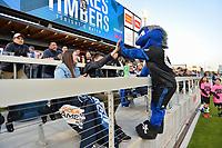 San Jose, CA - Saturday May 06, 2017: Quakes mascot, fans prior to a Major League Soccer (MLS) match between the San Jose Earthquakes and the Portland Timbers at Avaya Stadium.