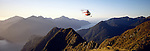 Hughes 500 D Helicopter above George Sound in Fiordland National Park New Zealand