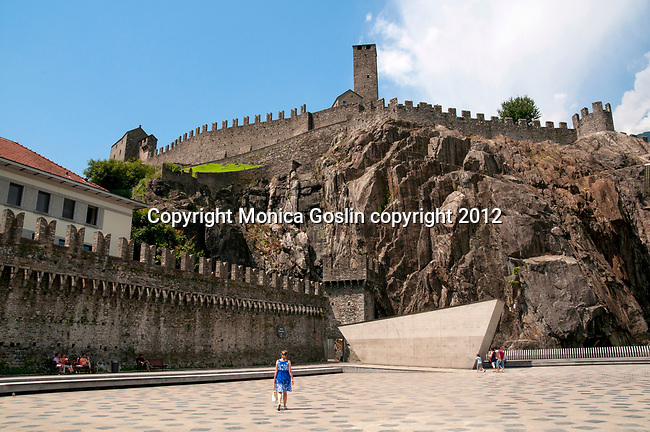 Looking up at Castelgrande from Piazza del Sole in Bellinzona, Switzerland a town with three castles