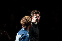 New york, United States. 7th February 2013 -- Alan Eckstein ® talks with  Timo Weiland at the end of their show during New York Fashion Week, MBFW 2013 in New York. Photo by Kena Betancur / VIEWpress.
