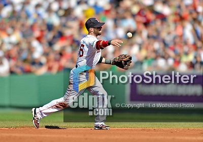 9 June 2012: Boston Red Sox second baseman Dustin Pedroia gets Ian Desmond out in the second inning during play against the visiting Washington Nationals at Fenway Park in Boston, MA. The Nationals defeated the Red Sox 4-2 in the second game of their 3-game series. Mandatory Credit: Ed Wolfstein Photo
