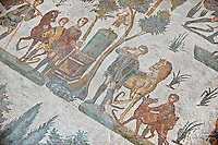 Hunters making a sacrifice to the goddess Diana after a hunt from the Room of The Small Nunt, no 25 - Roman mosaics at the Villa Romana del Casale which containis the richest, largest and most complex collection of Roman mosaics in the world, circa the first quarter of the 4th century AD. Sicily, Italy. A UNESCO World Heritage Site.