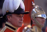 Trooping the Colour.Members of the Household Cavalry watch the parade. London England.  The English Season published by Pavilon Books 1987. Page 110.