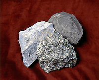 METAMORPHIC ROCKS<br /> Mica schist, Quartzite, Marble<br /> Formed by heat &amp; pressure on sedimentary rock. Center: Schist- shale compressed to final rock mostly mica; Right: Quartzite- formed from sandstone -hardest &amp; most resistant of all rocks; Left: Marble- from limestone &amp; dolomite