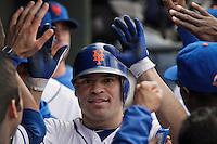 New York Mets Scott Hairston celebrates a home run with his teammates during their game against Miami Marlins at Citi Field Stadium in New York. Photo by Eduardo Munoz Alvarez / VIEW.