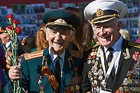 Moscow, Russia, 09/05/2013..Russian World War Two veterans and well-wishers gather in Gorky Park during the country's annual Victory Day celebrations.