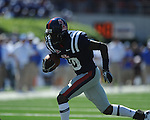 Ole Miss wide receiver Jesse Grandy (10) runs the ball around the end at Vaught-Hemingway Stadium in Oxford, Miss. on Saturday, October 2, 2010. Ole Miss won 42-35 to improve to 3-2..