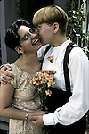 Lesbian couple in same sex wedding. Many gay and lesbian couples choose to affirm their commitment in a marriage ceremony, although gay and lesbian marriages are only legally in a few states.