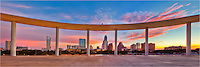 From the pavillion of the Long Center, this panorama offers a beautiful sunrise view of the Austin Skyline. This picture was taken early in the morning and looks nearly straight north.