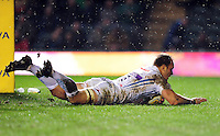 Kai Horstmann of Exeter Chiefs scores a first half try. Aviva Premiership match, between Leicester Tigers and Exeter Chiefs on March 3, 2017 at Welford Road in Leicester, England. Photo by: Patrick Khachfe / JMP