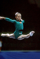 July 25, 1998; New York, NY, USA; Artistic gymnast Ling Jie of China performs balance beam at 1998  Goodwill Games New York. Copyright 1998 Tom Theobald