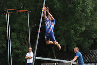 FIERLJEPPEN: GRIJPSKERK: 17-08-2013, 1e Klas wedstrijd, Bart Helmholt, ©foto Martin de Jong