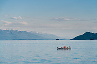 Kalispell Chamber of Commerce Cruise on Far West on Flathead Lake with view of bark canoe