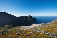 View over isolated Horseid beach, Moskenesøy, Lofoten Islands, Norway