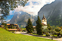 Church & old village of Grindelwald in summer, Bernese Alps, Switzerland
