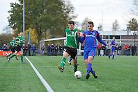 VOETBAL: HEERENVEEN: 07-11-2015, Heerenveense Boys - Zwaagwesteinde, uitslag 2-3, Oane Hornstra (#9), Jelle van der Wal (#3), uitslag 2-3, ©foto Martin de Jong