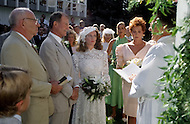 Ketchum, Idaho, U.S.A, August, 5th, 1989. Jack Hemingway and his second wife  Angela Holvey during their wedding ceremony.
