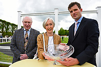 Connections of Youkan are presented with their trophy after winning The Simon & Nerys Dutfield Memorial Novice Stakes  during Afternoon Racing at Salisbury Racecourse on 18th May 2017
