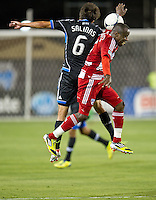 SANTA CLARA, CA - July 18, 2012: FC Dallas defender Jair Benitez (5) during the San Jose Earthquakes vs  FC Dallas match at the Buck Shaw Stadium in Santa Clara, California. Final score San Jose Earthquakes 2, FC Dallas 1.