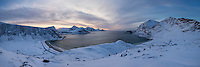 Panoramic view over Vik and Haukland beachs in winter, Vestvågøy, Lofoten Islands, Norway