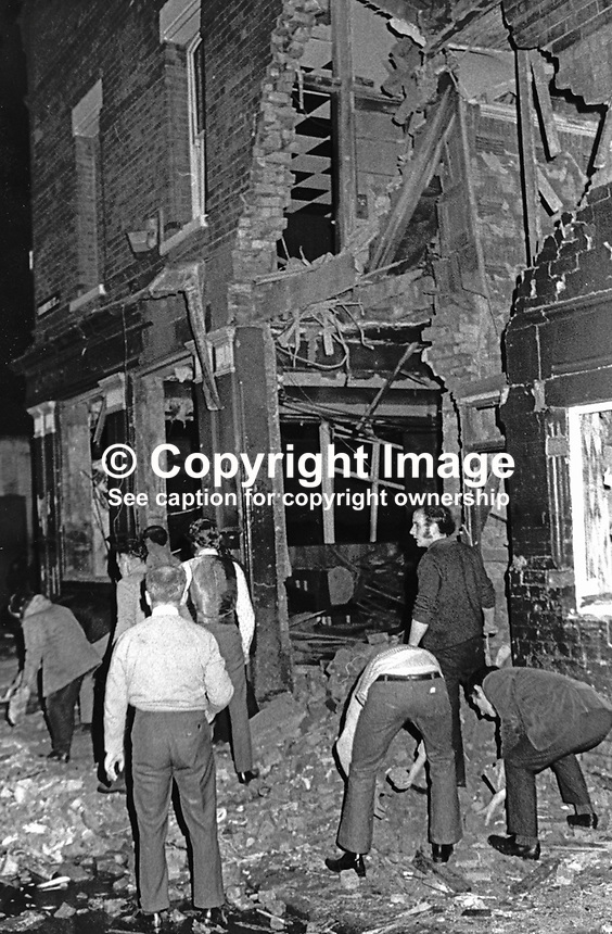 Scene following explosion at Clarkin's pub, Springfield Road, Belfast, 13th January 1973. Seventeen were injured three of which are still detained in hospital. Loyalist paramilitaries were being blamed for the attack. 19730130065.<br />