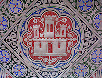 Detail of a tile on the floor with Spanish golden Castilian castle with red background, La Sainte-Chapelle (The Holy Chapel), 1248, Paris, France. The Castilian castles symbolize Blanche de Castille, Saint Louis' mother. La Sainte-Chapelle was commissioned by King Louis IX of France to house his collection of Passion Relics, including the Crown of Thorns, and is considered among the highest achievements of the Rayonnant period of Gothic architecture. Picture by Manuel Cohen