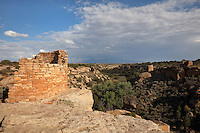 Ruins of Ancestral Puebloan villages at Hovenweep National Monument, Colorado, USA. This area has been settled by Native Americans from 6000 BC until the 14th century AD and currently houses the ruins of 6 Anasazi Puebloan villages from the 13th century. Picture by Manuel Cohen