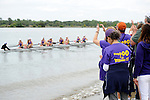 28 MAY 2011: Williams College fans cheer on their Williams I Eights boat during the 2011 NCAA Division III Women's Rowing Championship hosted by Washington State University held at the Sacramento State Aquatic Center in Gold River, CA. Williams placed first to win the national team title. Brett Wilhelm/NCAA Photos
