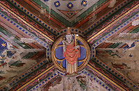 Bosse on a painted vaulted ceiling of a side chapel, by the Master of Rieux, with saint, possibly St Peter holding the key to heaven, in the 12th century cathedral of Saint Maurice de Mirepoix, Mirepoix, Ariege, Midi-Pyrenees, France. The cathedral was restored in the 19th century by Prosper Merimee et Eugene Viollet-le-Duc and is listed as a national monument. Picture by Manuel Cohen