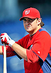 21 June 2011: Washington Nationals pitcher John Lannan awaits his turn in the batting cage prior to a game against the Seattle Mariners at Nationals Park in Washington, District of Columbia. The Nationals rallied from a 5-1 deficit, scoring 5 runs in the bottom of the 9th, to defeat the Mariners 6-5 in inter-league play. Mandatory Credit: Ed Wolfstein Photo