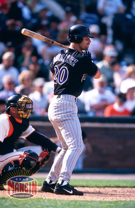 SAN FRANCISCO, CA - Luis Gonzalez of the Arizona Diamondbacks bats during a game against the San Francisco Giants at Pacific Bell Park in San Francisco, California on May 28, 2001. Photo by Brad Mangin