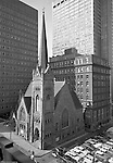 Pittsburgh PA: View of the First English Evangelical Church in downtown Pittsburgh - 1958.  Founded in 1837, the church was the first English-speaking Lutheran Church west of the Allegheny Mountains. This building on Grant Street was dedicated in 1888.  The Alcoa and  H.K. Porter buildings are in the background.