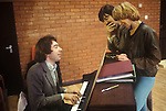 Andrew Lloyd Webber,  Trevor Nunn, Gillian Lynne London England circa 1980. Working on the new musical Cats.