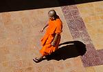Buddhist monk in orange robe