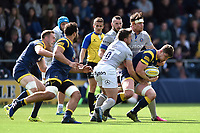 Sam Lewis of Worcester Warriors takes on the Bath Rugby defence. Aviva Premiership match, between Worcester Warriors and Bath Rugby on April 15, 2017 at Sixways Stadium in Worcester, England. Photo by: Patrick Khachfe / Onside Images