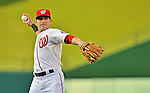 15 June 2012: Washington Nationals second baseman Danny Espinosa warms up prior to a game against the New York Yankees at Nationals Park in Washington, DC. The Yankees defeated the Nationals 7-2 in the first game of their 3-game series. Mandatory Credit: Ed Wolfstein Photo